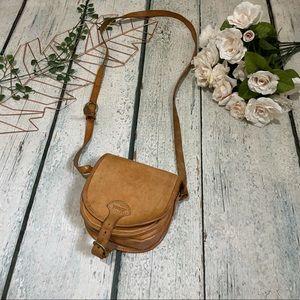 Cree crossbody purse bag tan leather suede brown small mini buckle pocket boho